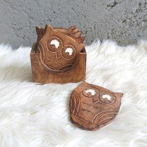 Owl Coaster Set & Holder Handmade India